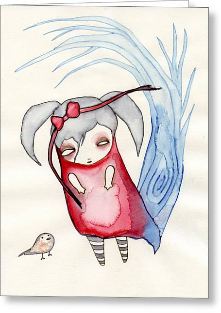 Girl Drawings Greeting Cards - Zeeroh Tew Greeting Card by Lindsey Cormier