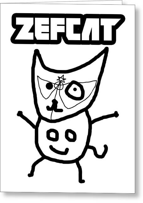 Badass Greeting Cards - Zef Cat Greeting Card by Jera Sky