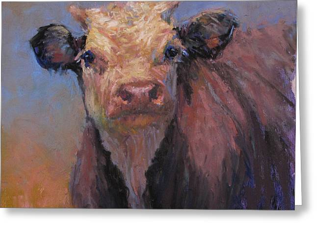 Cattle Pastels Greeting Cards - Zeke Greeting Card by Susan Williamson