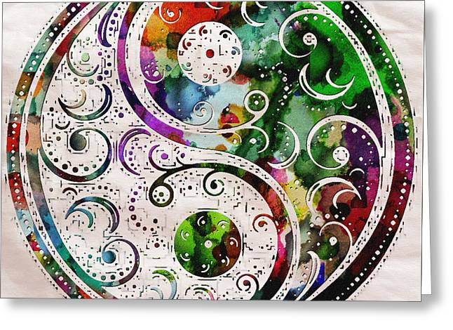 Yang Greeting Cards - Zen bliss Large Poster Print Greeting Card by Robert R Splashy Art Abstract Paintings