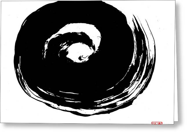 Enso Greeting Cards - Zen Circle Wave Greeting Card by Peter Cutler