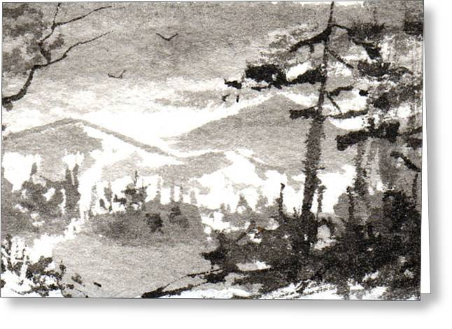 Asian Influence Greeting Cards - Zen Ink Landscape 2 Greeting Card by Sean Seal
