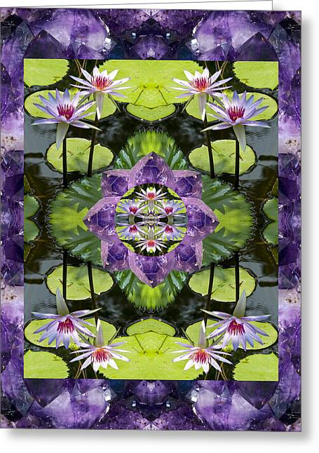Mandala Photographs Greeting Cards - Zen Lilies Greeting Card by Bell And Todd