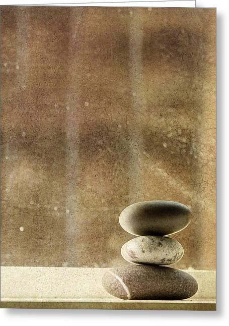 Pebbles Greeting Cards - Zen Greeting Card by Rebecca Cozart