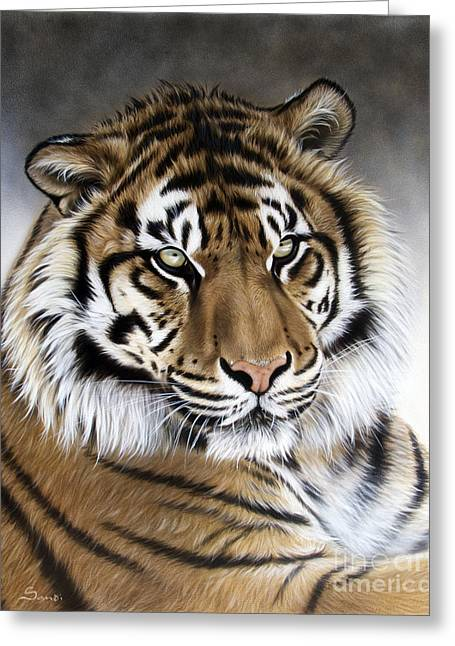 Tigers Greeting Cards - Zen Greeting Card by Sandi Baker
