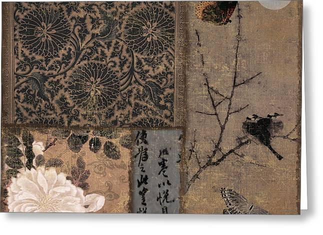 Birds And Flowers Greeting Cards - Zen Spice II Greeting Card by Mindy Sommers
