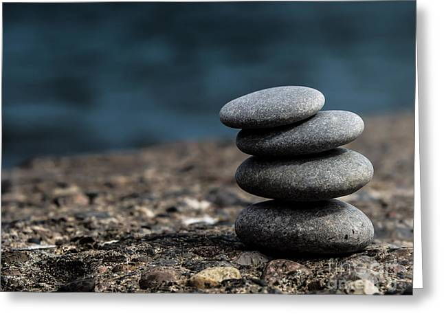 Zen Pyrography Greeting Cards - Zen Stone 1 Greeting Card by Olga Photography