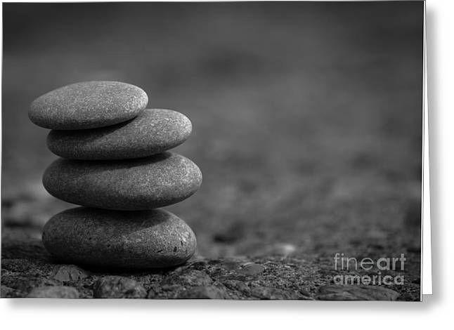 Zen Pyrography Greeting Cards - Zen Stone B And W Greeting Card by Olga Photography