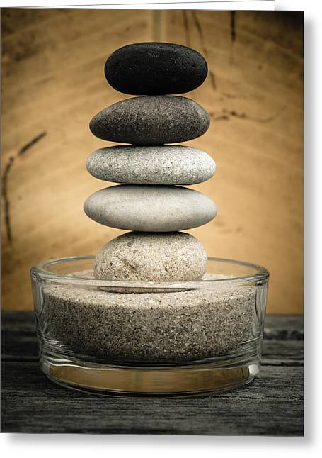 Mystic Setting Greeting Cards - Zen Stones I Greeting Card by Marco Oliveira