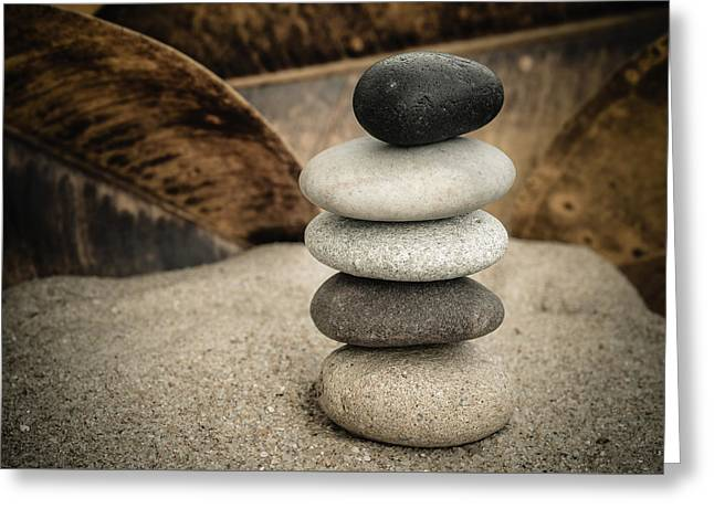 Mystic Setting Greeting Cards - Zen Stones III Greeting Card by Marco Oliveira