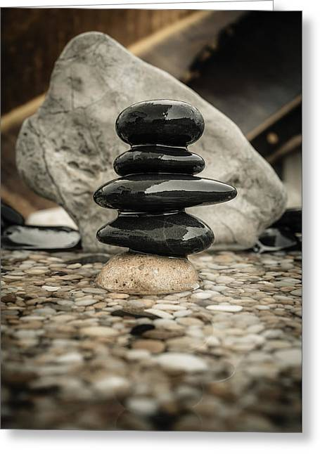 Mystic Setting Greeting Cards - Zen Stones V Greeting Card by Marco Oliveira