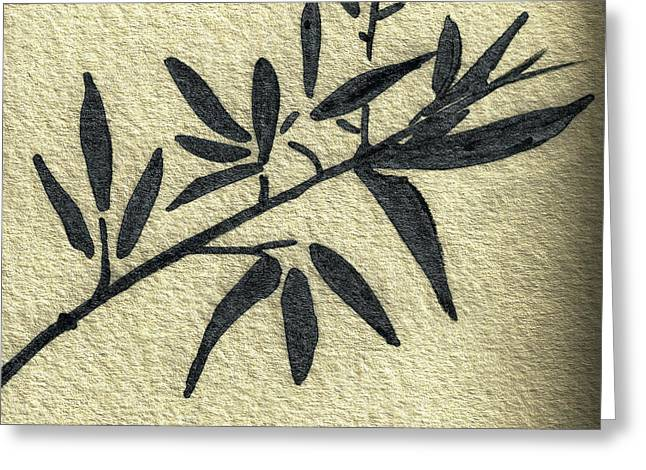 Calligraphy Print Mixed Media Greeting Cards - Zen Sumi Antique Botanical 4a Ink on Fine Art Watercolor Paper by Ricardos Greeting Card by Ricardos Creations