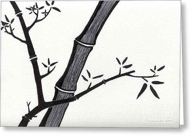 Calligraphy Print Greeting Cards - Zen Sumi Bamboo 2a Black Ink on Watercolor Paper by Ricardos Greeting Card by Ricardos Creations
