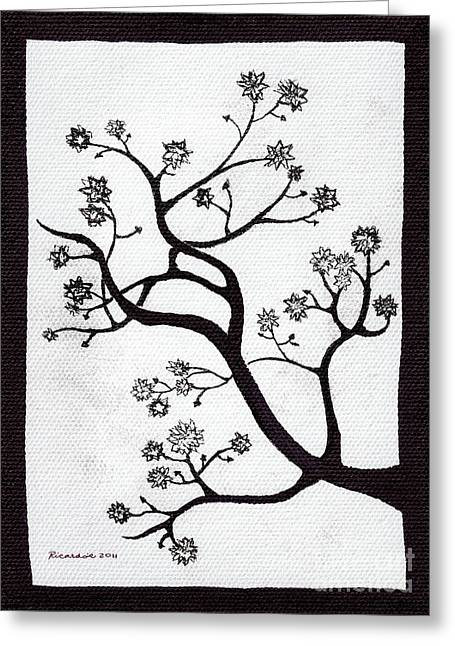 Calligraphy Print Mixed Media Greeting Cards - Zen Sumi Bush Black Ink on White Canvas by Ricardos Greeting Card by Ricardos Creations