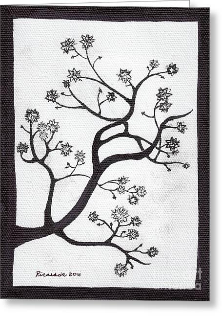 Flower Still Life Prints Greeting Cards - Zen Sumi Bush Original Black Ink on White Canvas Ricardos Greeting Card by Ricardos Creations