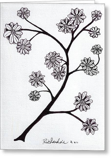 Calligraphy Print Mixed Media Greeting Cards - Zen Sumi Flower Branch Black Ink on White Canvas Ricardos Greeting Card by Ricardos Creations
