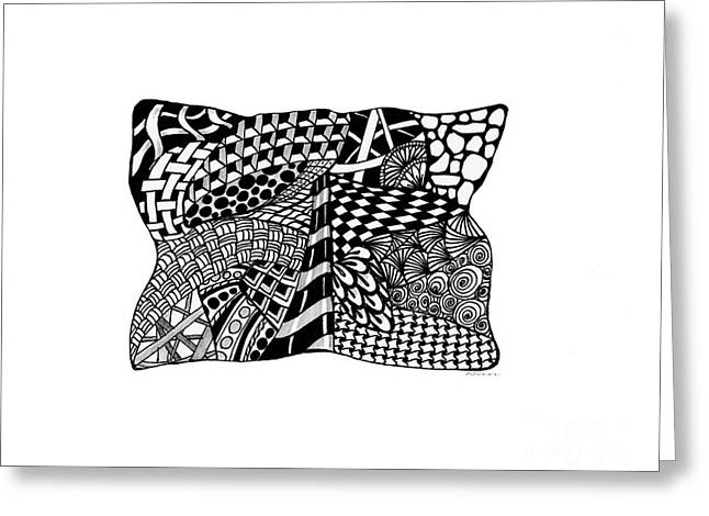 Ink Drawing Greeting Cards - Zentangle Design Greeting Card by Nan Wright