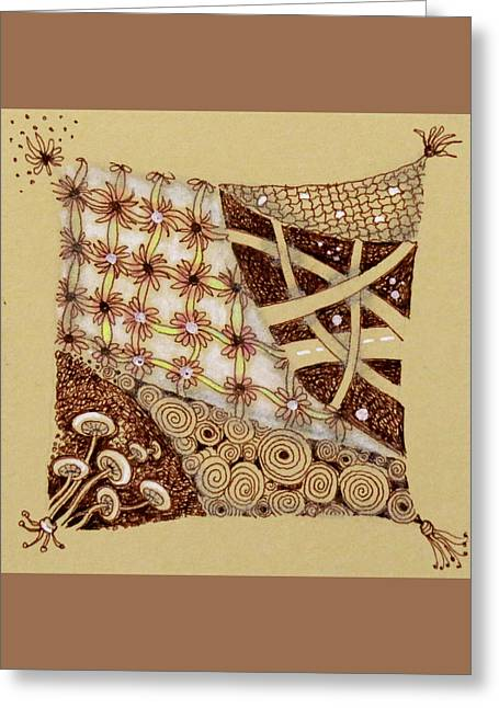 Tassels Drawings Greeting Cards - Zentangle  Web of Life Greeting Card by Cecie McCaffery
