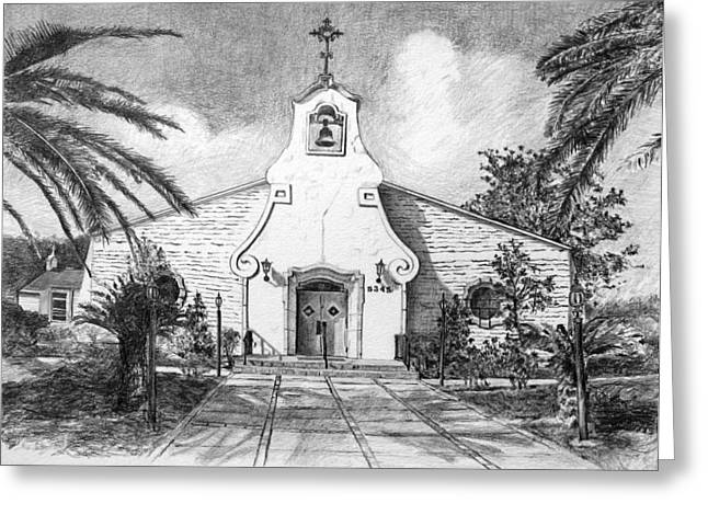 Zephyrhills Catholic Church Greeting Card by Rod Varney