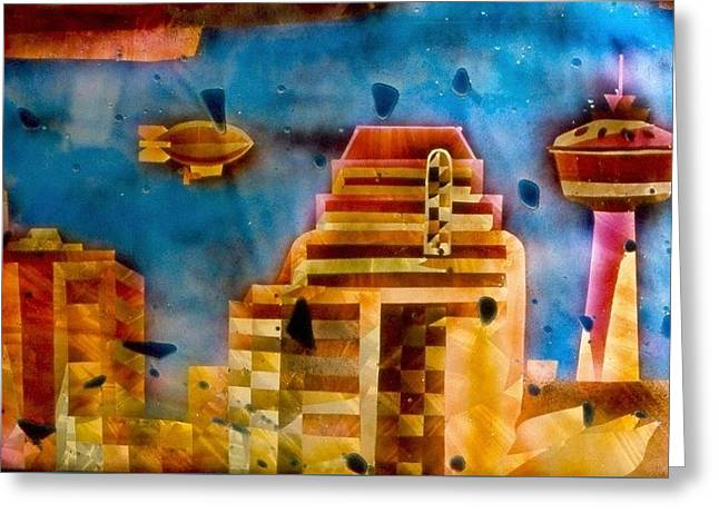 Contemporary Glass Art Greeting Cards - Zepplins detail  Greeting Card by Rick Silas