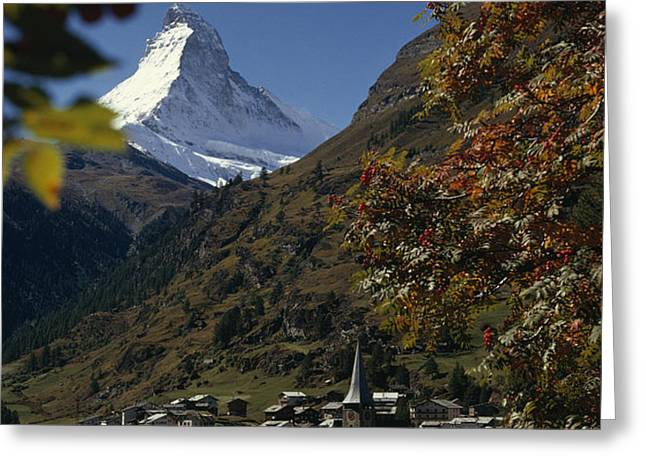 Zermatt Village With The Matterhorn Greeting Card by Thomas J. Abercrombie