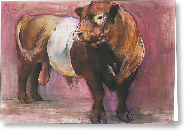 Cattle Pastels Greeting Cards - Zeus  Red Belted Galloway Bull Greeting Card by Mark Adlington