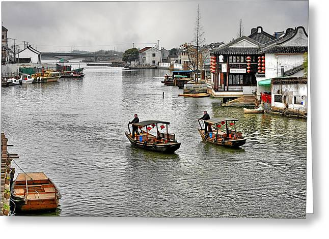 Waterways Greeting Cards - Zhujiajiao - A Glimpse of Ancient Yangtze Delta Life Greeting Card by Christine Till