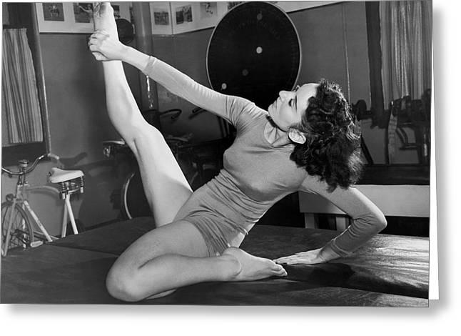 Ziegfeld Dancer Stays Limber Greeting Card by Underwood Archives