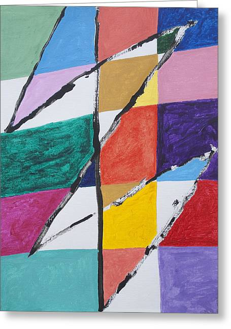 Rectangles Greeting Cards - Zig Zag Greeting Card by Stormm Bradshaw