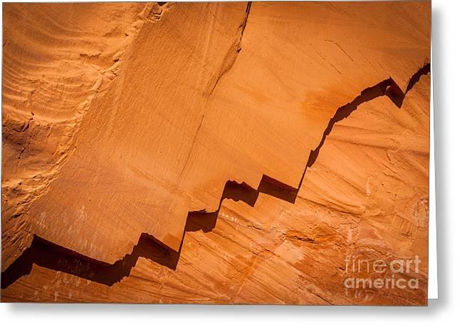 Zigzag Sandstone Greeting Card by Inge Johnsson