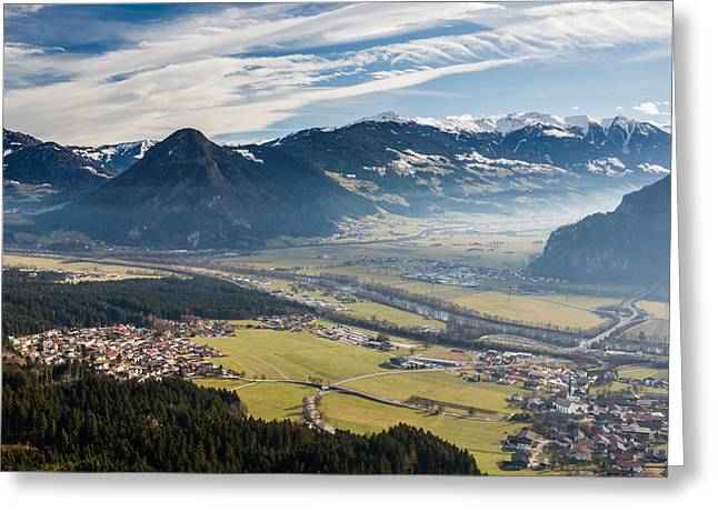Mountain Road Greeting Cards - Ziller valley meets Inn valley and villages Greeting Card by Max Mayorov