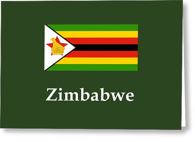 Zimbabwe Flag And Name Greeting Card by Frederick Holiday