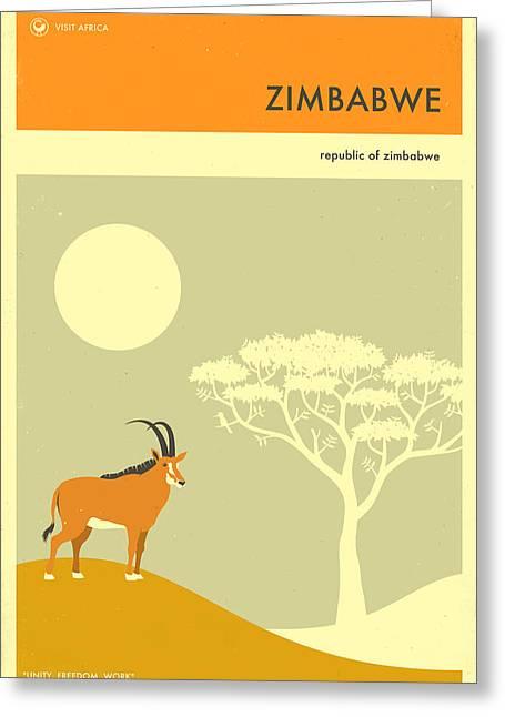 Zimbabwe Digital Art Greeting Cards - Zimbabwe Travel Poster Greeting Card by Jazzberry Blue