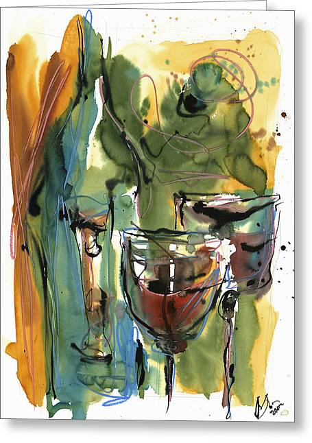 Abstract Glass Greeting Cards - Zin-FinDel Greeting Card by Robert Joyner