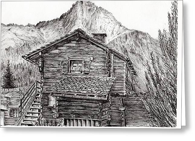Black Lodge Drawings Greeting Cards - Zinal Switzerland Greeting Card by Vincent Alexander Booth