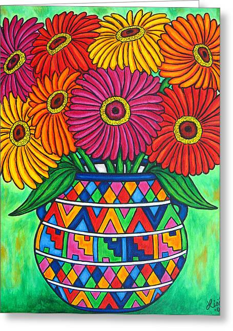 Zinnias Greeting Cards - Zinnia Fiesta Greeting Card by Lisa  Lorenz