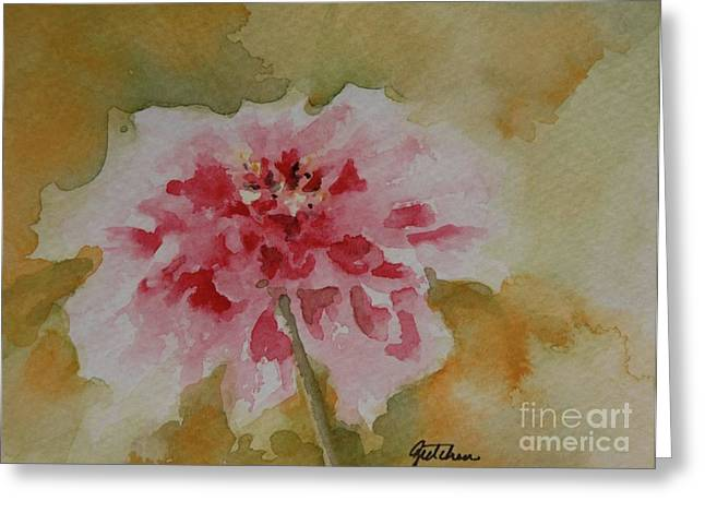 Loose Watercolor Greeting Cards - Zinnia Greeting Card by Gretchen Bjornson