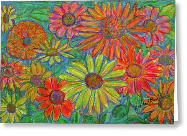 Zinnia Spin Greeting Card by Kendall Kessler