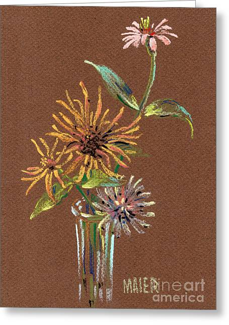 Still Life Pastels Greeting Cards - Zinnias Greeting Card by Donald Maier