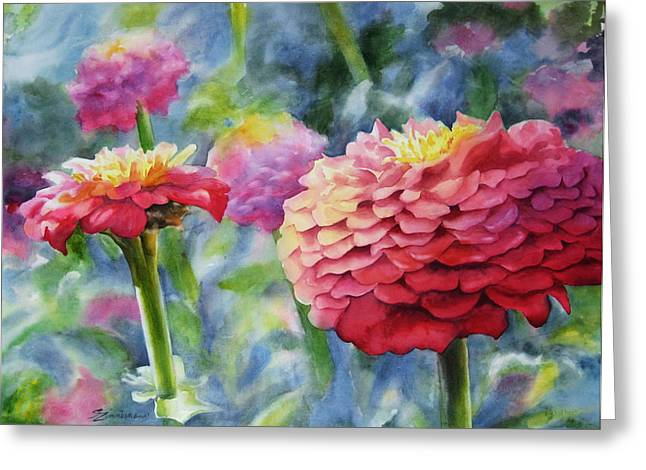 Zinnias Greeting Cards - Zinnias Greeting Card by Sue Zimmermann