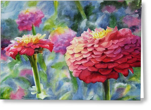 Zinnias Greeting Card by Sue Zimmermann