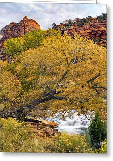 Zion Canyon Autumn Greeting Card by Leland D Howard