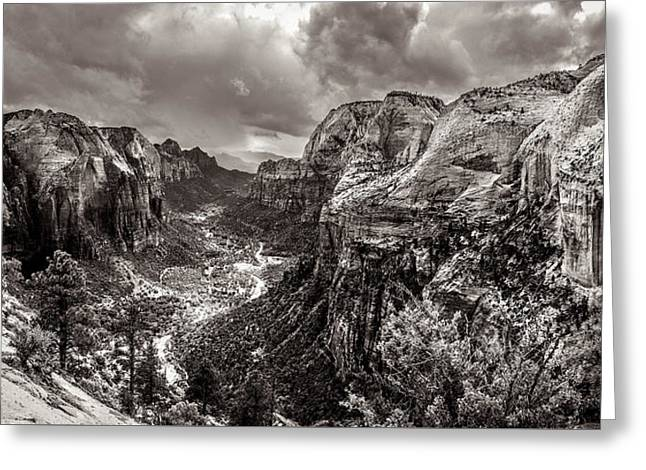 S Landscape Photography Greeting Cards - Zion Canyon Storm Black and White Greeting Card by Scott McGuire