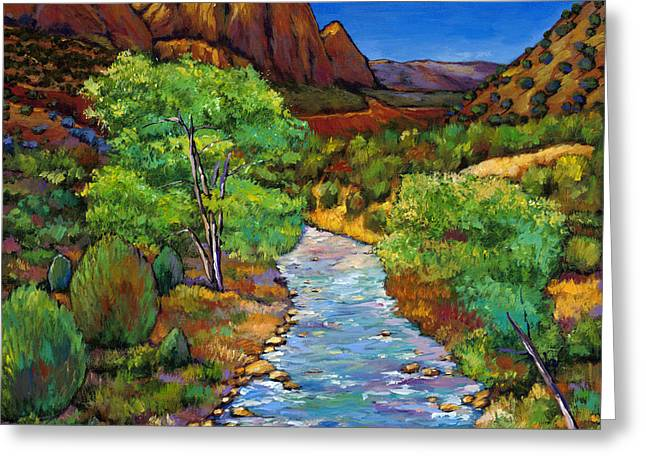 Green Contemporary Greeting Cards - Zion Greeting Card by Johnathan Harris