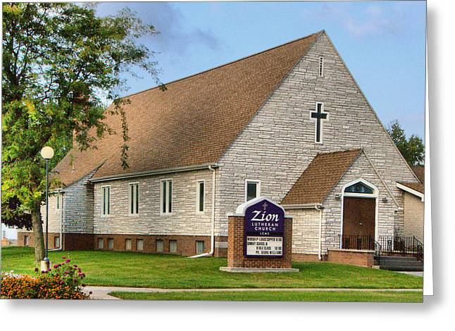 Zion Lutheran Church Of Ainsworth, Nebraska Greeting Card by Josephine Buschman