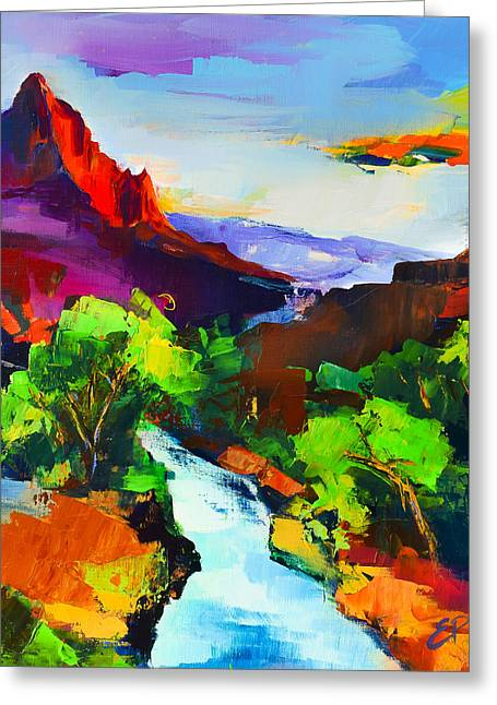 Zion - The Watchman And The Virgin River Greeting Card by Elise Palmigiani