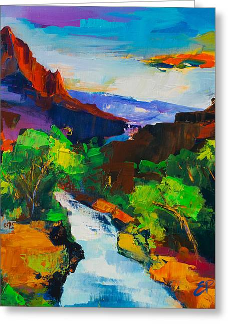 Zion Greeting Cards - Zion - The Watchman and the Virgin River Greeting Card by Elise Palmigiani