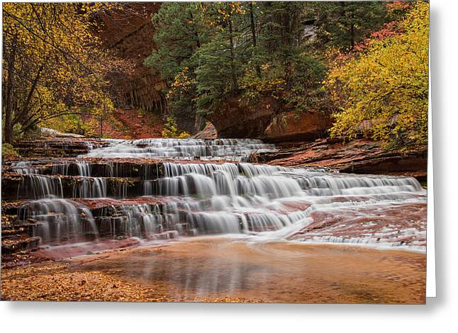 Hike The Subway Greeting Cards - Zion Waterfall Greeting Card by Yvonne Baur