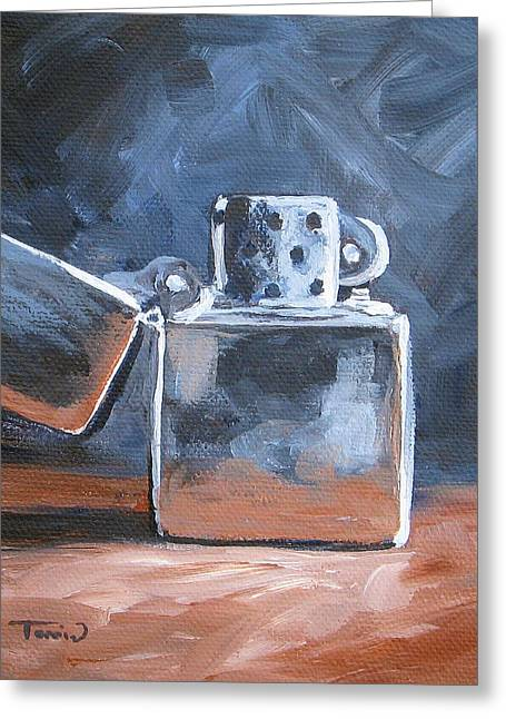 Lighter Greeting Cards - Zippo Lighter Greeting Card by Torrie Smiley