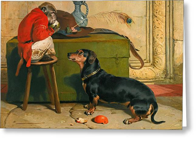 Edwin A Greeting Cards - Ziva a badger-dog belonging to the Hereditary Prince of Saxe Coburg-Gotha Greeting Card by Edwin Landseer